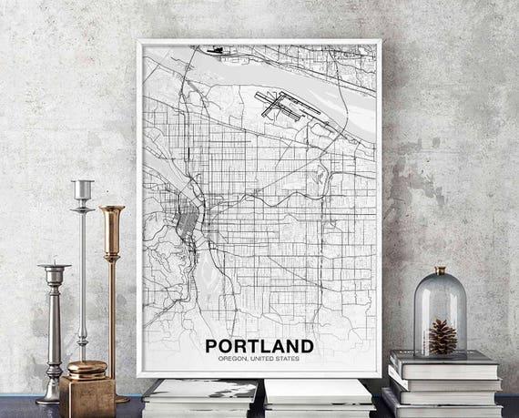 PORTLAND Oregon OR USA map poster black white wall design modern motto  scandinavian minimal nordic housewarming travel bedroom