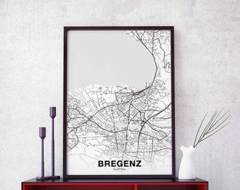 BREGENZ Austria map poster black white wall  design modern motto scandinavian minimal nordic housewarming travel bedroom