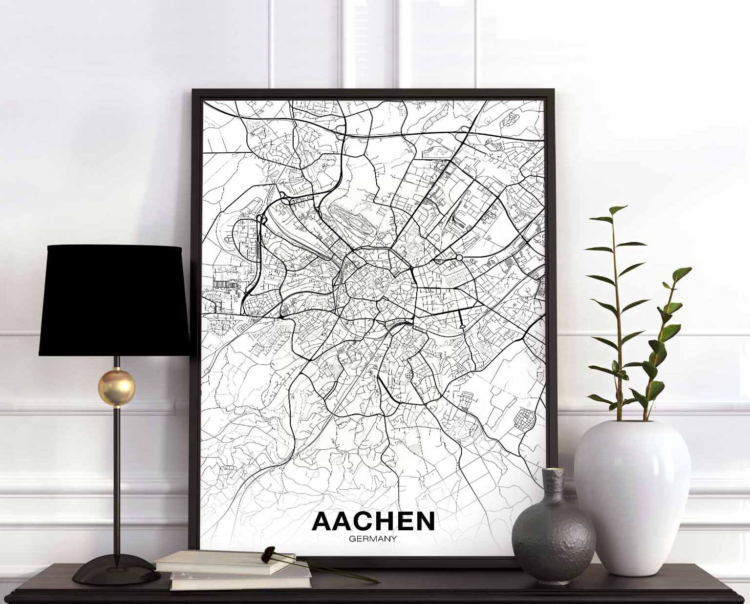 Aachen Germany Map Poster Hometown City Print Modern Home Decor Office Decoration Wall Art Dorm Bedroom Gift