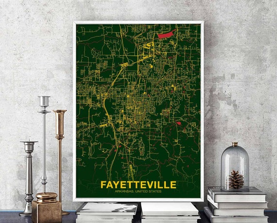 FAYETTEVILLE Arkansas AR US map poster color wall decor design | Etsy