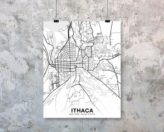 Ithaca NY Street Map Poster