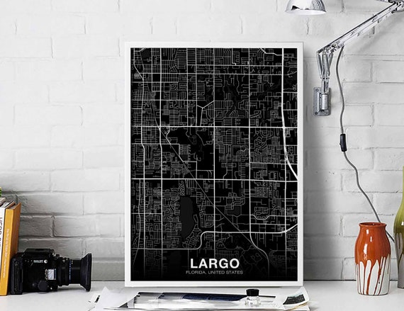 Largo Fl Elevation Map.Largo Florida Fl Usa Map Poster Black White Wall Design Etsy