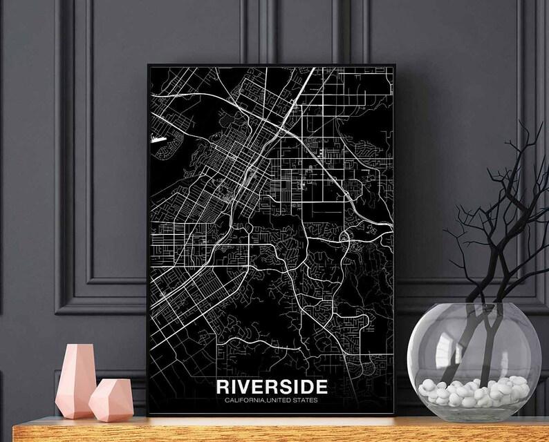 RIVERSIDE California CA USA map poster black white wall | Etsy