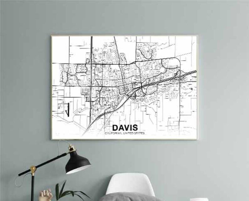 DAVIS California CA USA map poster black white wall decor design modern  motto scandinavian minimal nordic housewarming travel bedroom