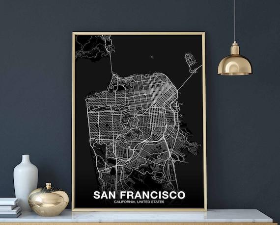 SAN FRANCISCO California CA usa map poster black white wall decor design  modern scandinavian minimal nordic housewarming travel bedroom