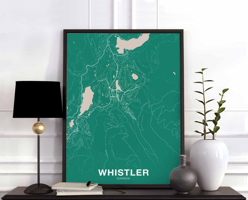 Whistler Canada Map Poster Color Hometown City Print Modern Etsy