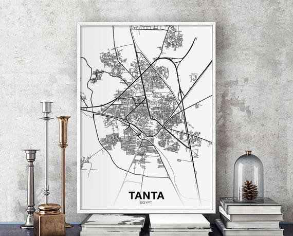 TANTA Egypt map poster black white wall decor design modern | Etsy