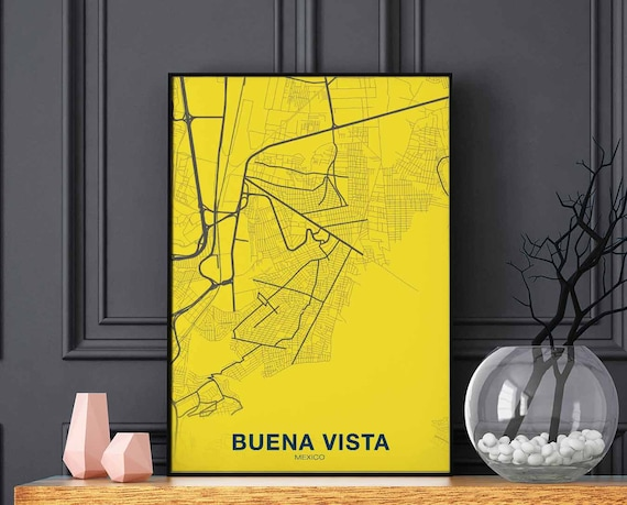 Buena Vista Mexico Map Poster Color Wall Decor Design Modern Etsy