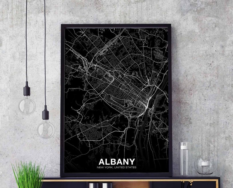 ALBANY New York NY US map poster black white wall decor design modern  scandinavian minimal nordic housewarming travel bedroom