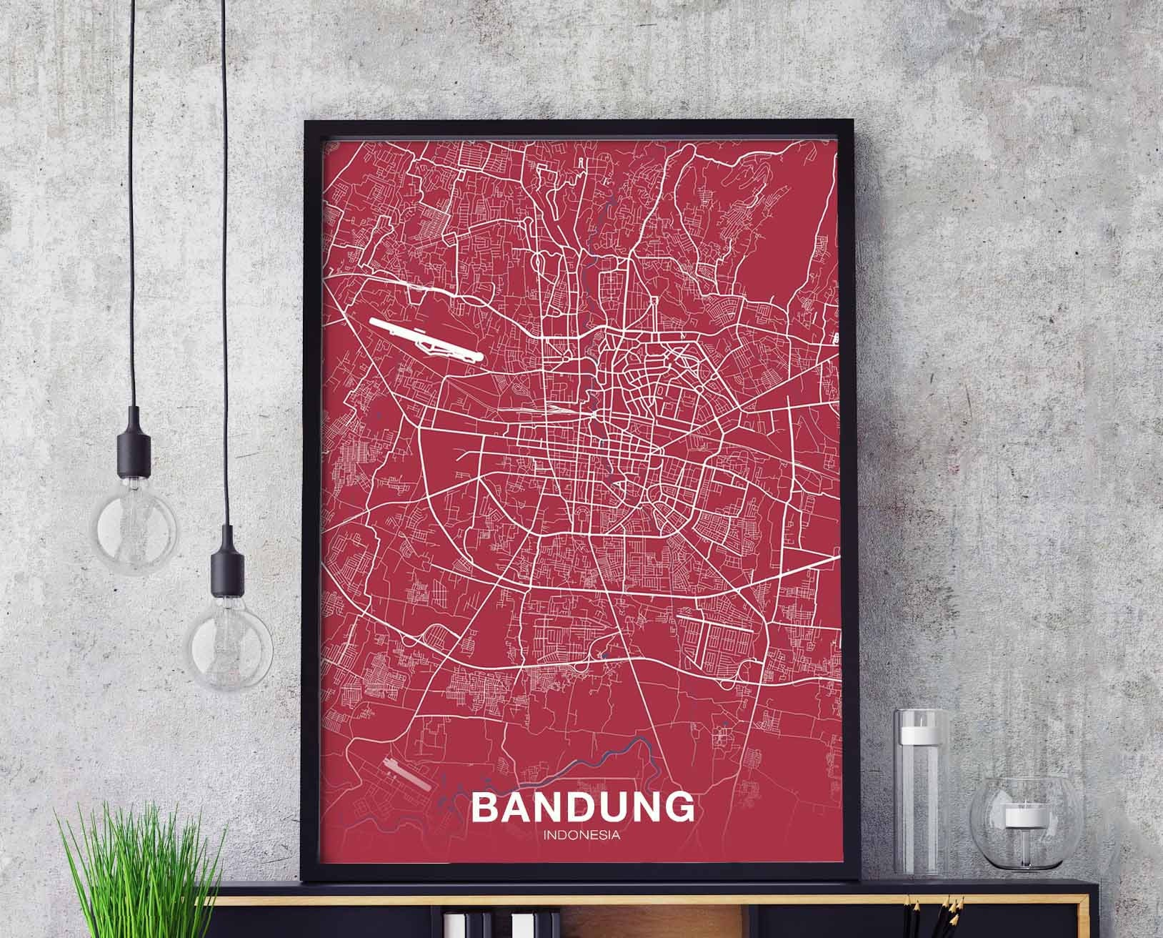 BANDUNG Indonesia map poster color Hometown City Print Modern Home