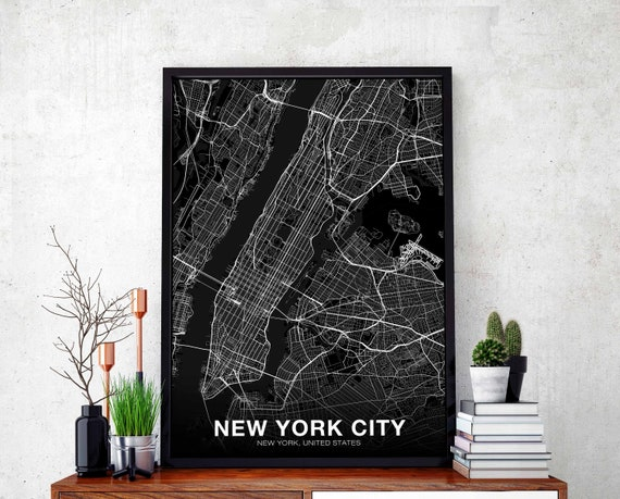 NEW YORK CITY New York ny usa map poster black white wall decor design  modern scandinavian minimal nordic housewarming travel bedroom