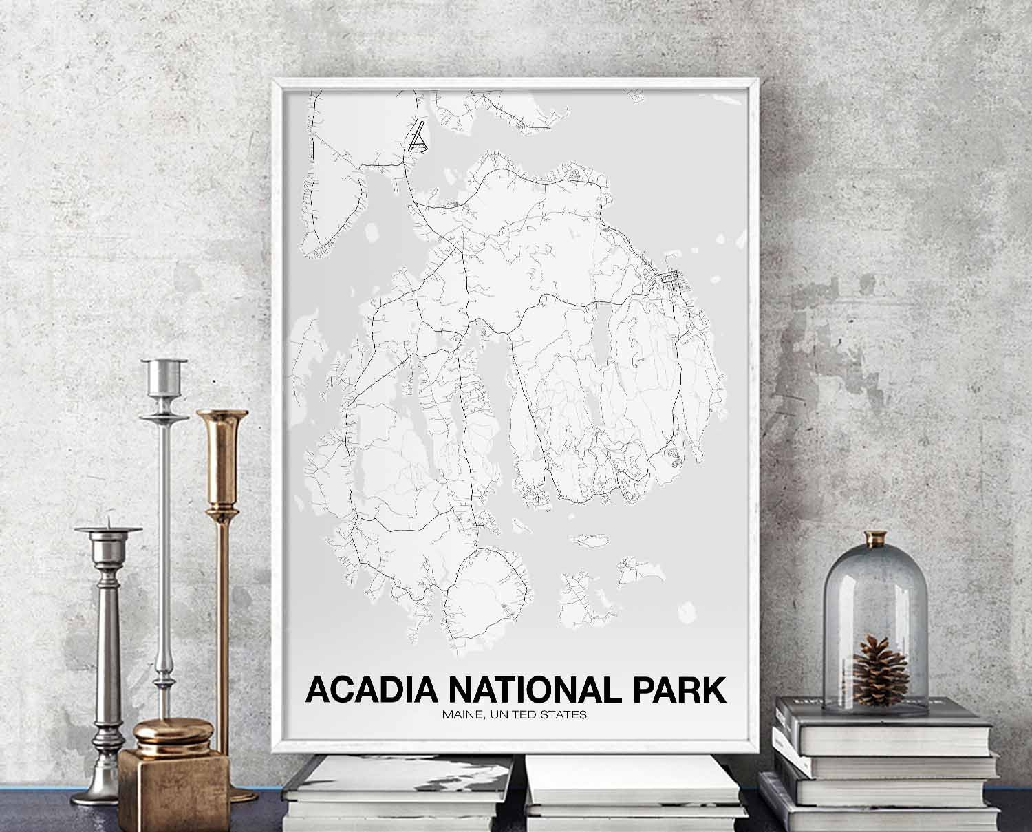ACADIA NATIONAL PARK Maine usa map poster black white wall ...