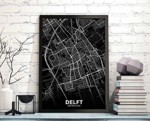 DELFT Netherlands map poster black white wall decor design   Etsy