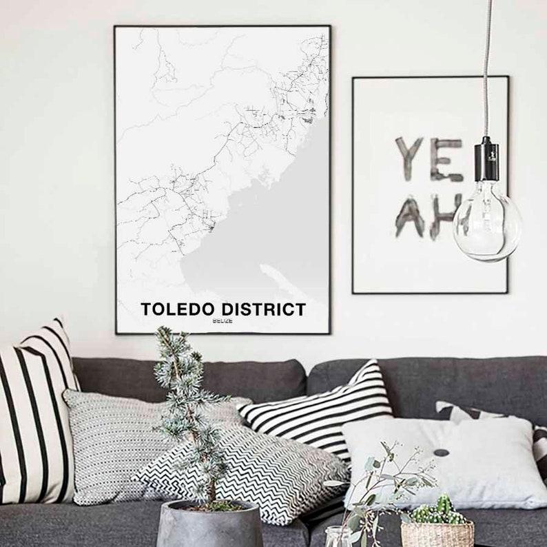 TOLEDO DISTRICT Belize map poster black white Hometown City Print Modern Home Decor Office Decoration Wall Art Dorm Bedroom Gift