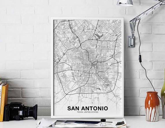San Antonio Texas Tx Usa Map Poster Black White Wall Decor Design Modern Motto Scandinavian Minimal Nordic Housewarming Travel Bedroom