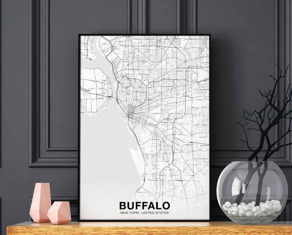 BUFFALO New York NY USA map poster black white wall decor design modern  scandinavian minimal nordic housewarming travel bedroom