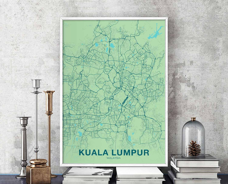 Kuala Lumpur Malaysia Map Poster Color Wall Decor Design