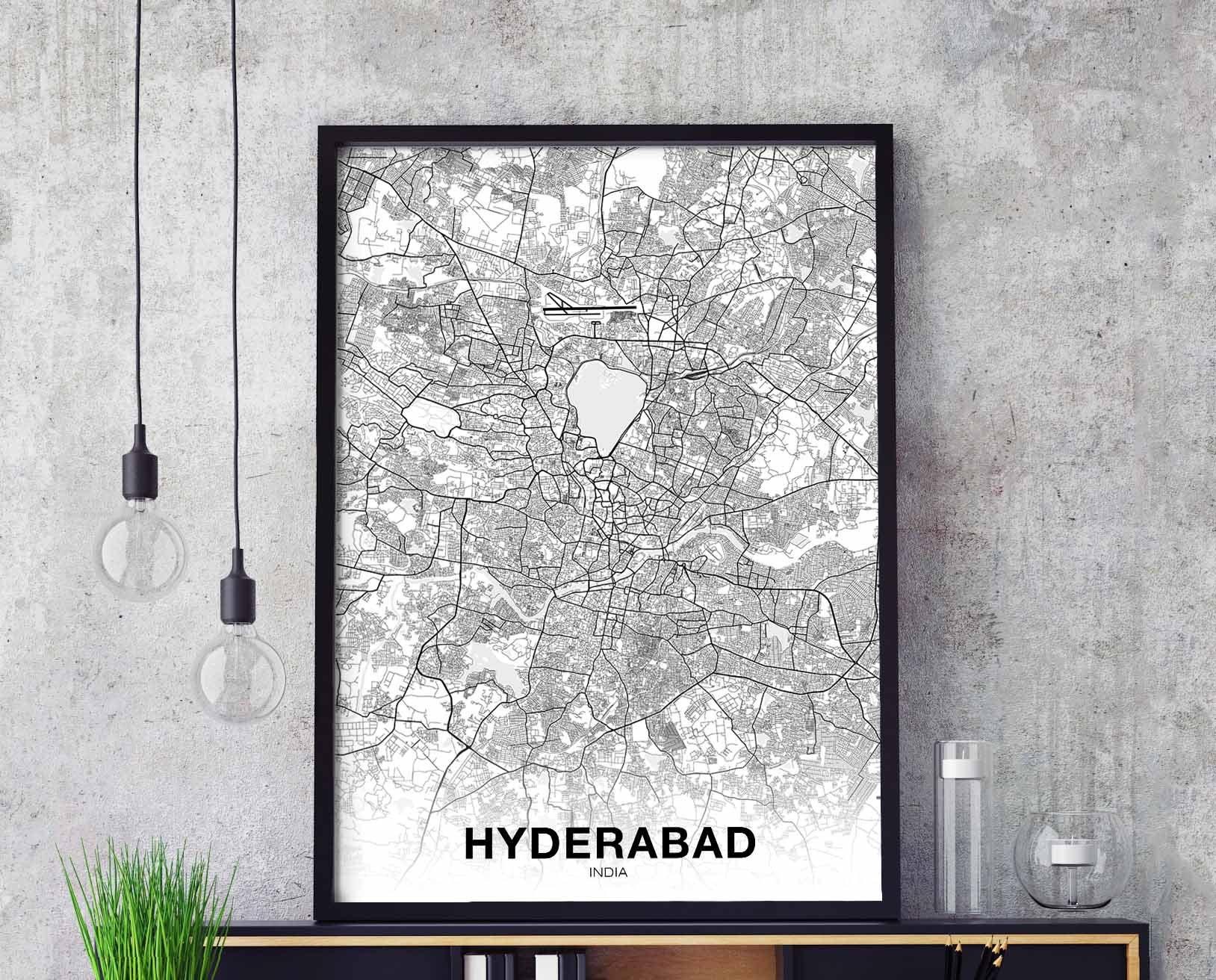 Hyderabad India Map Poster Black White Wall Decor Design