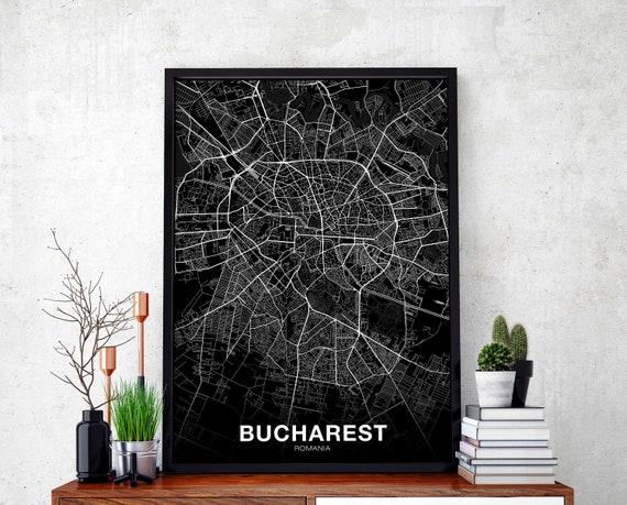 BUCHAREST Romania map poster black white wall decor design modern minimal  nordic housewarming travel bedroom art print