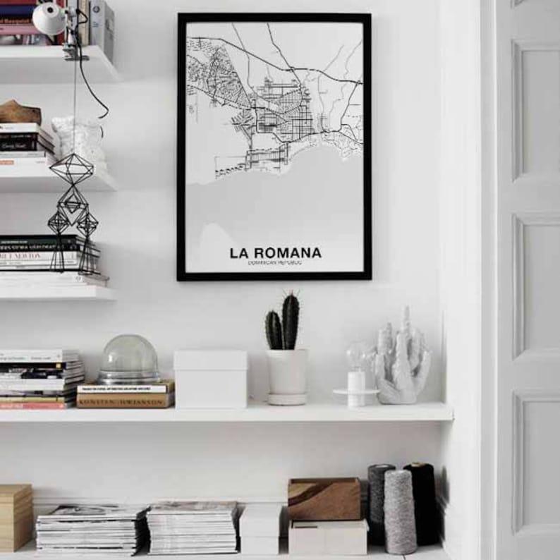 LA ROMANA Dominican Republic map poster black white  Hometown City Print Modern Home Decor Office Decoration Wall Art Dorm Bedroom Gift