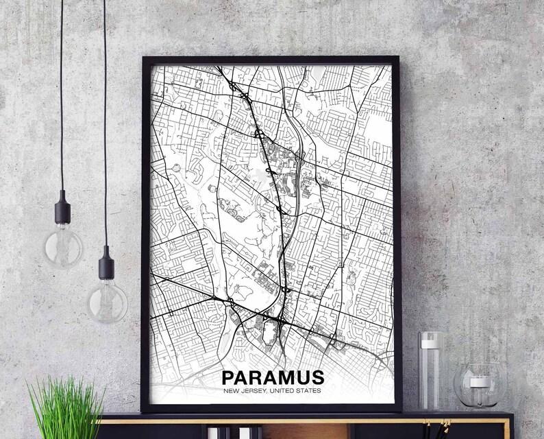 PARAMUS New Jersey NJ USA map poster black white wall design modern motto  scandinavian minimal nordic housewarming travel bedroom