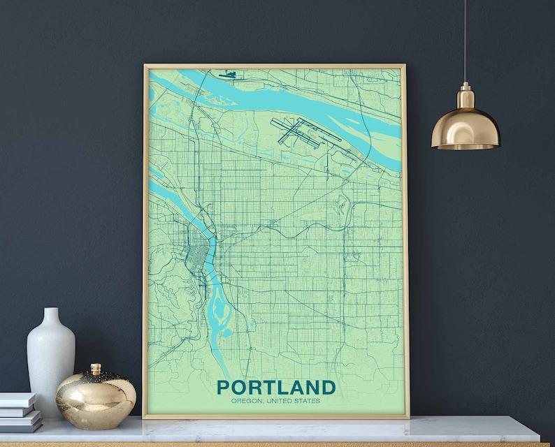 PORTLAND Oregon OR USA map poster color wall decor design modern motto  swiss minimal nordic housewarming travel bedroom