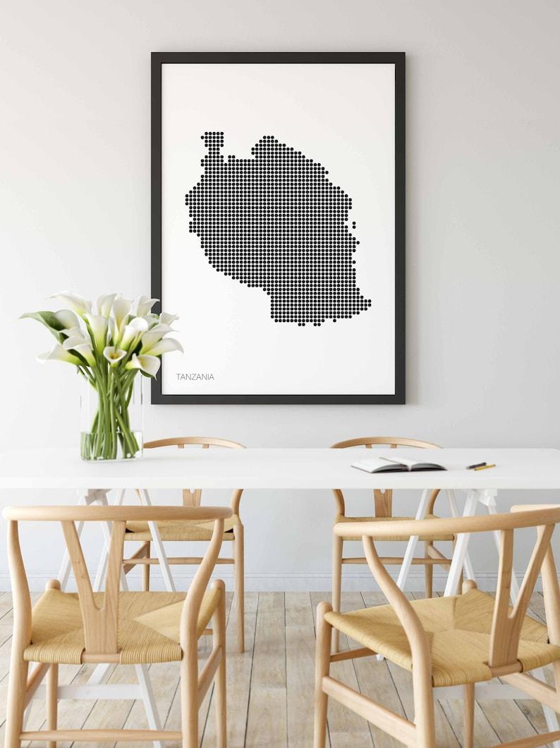 TANZANIA minimal dots retro map poster black white wall decor design modern swiss scandinavian nordic housewarming travel