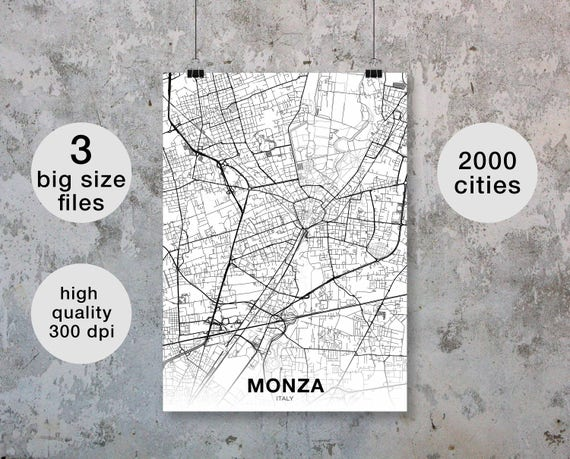 Monza Italy Map Poster Black White Wall Decor Design Modern Etsy