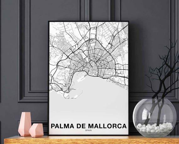 PALMA DE MALLORCA Spain map poster black white wall decor design modern  motto swiss scandinavian minimal nordic housewarming travel bedroom
