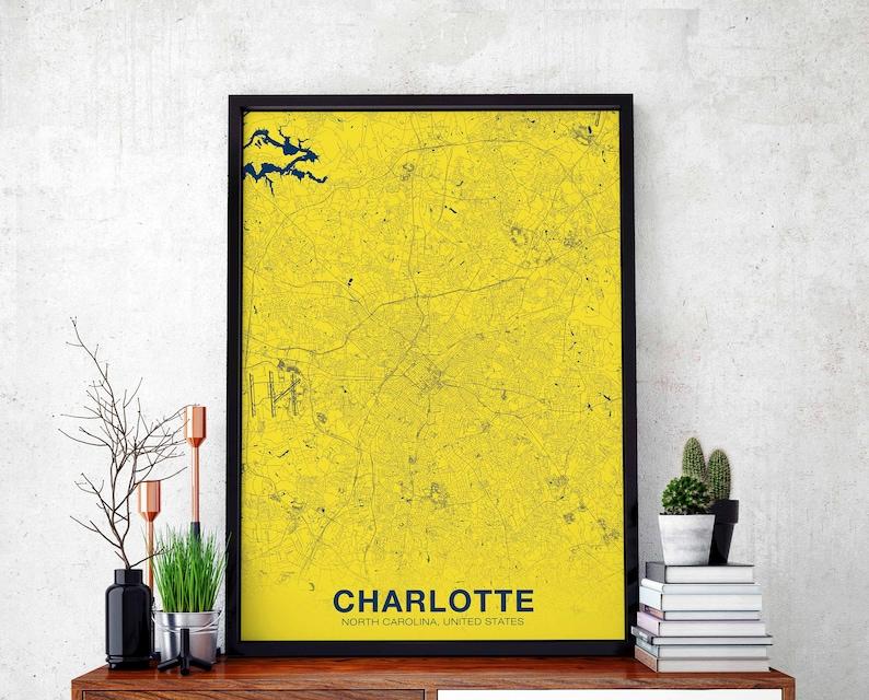 Charlotte North Carolina Nc Us Map Poster Color Wall Decor Etsy - Us-map-charlotte-nc
