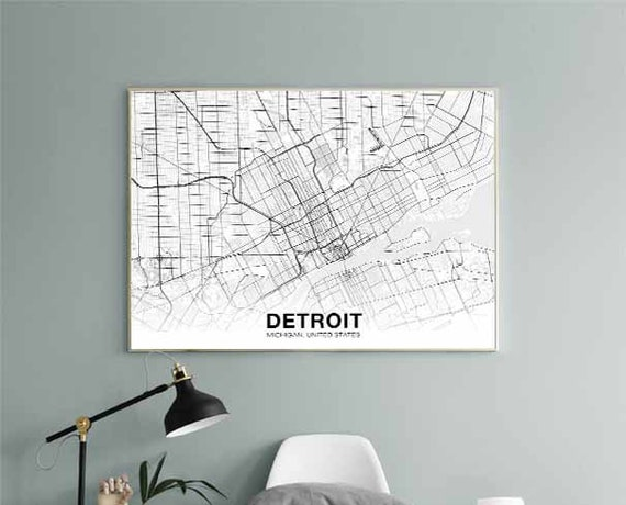 DETROIT Michigan MI USA map poster black white wall design modern motto  scandinavian minimal nordic housewarming travel bedroom