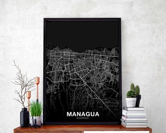 Managua Nicaragua Map Poster Black White Wall Decor Design Modern Minimal Nordic Housewarming Travel Bedroom Art Print
