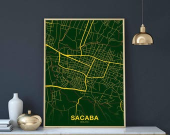 Bolivia map etsy more colors sacaba bolivia map poster gumiabroncs Image collections