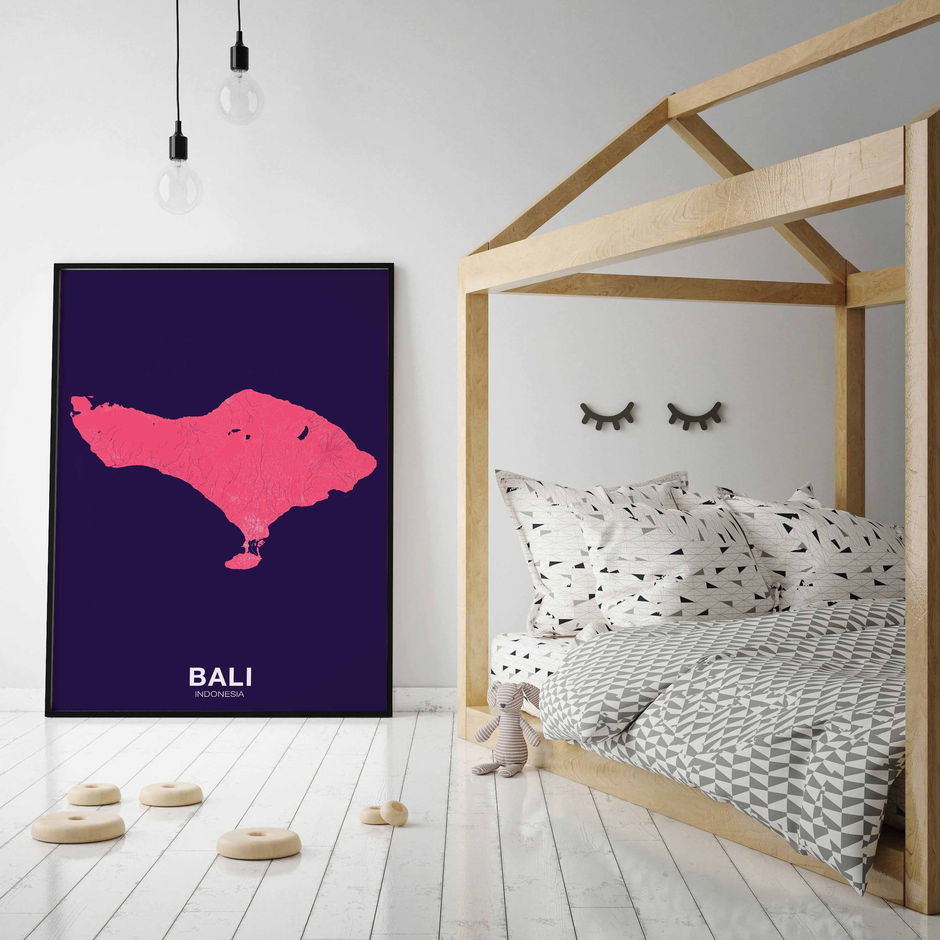 Bali Indonesia Map Poster Color Hometown City Print Modern Home Decor Office Decoration Wall Art Dorm Bedroom Gift