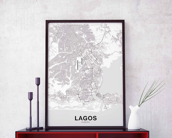 Lagos Nigeria Map Poster Black White Hometown City Print Etsy