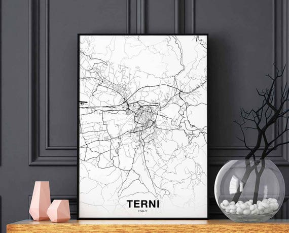TERNI Italy map poster black white wall decor design modern motto swiss  scandinavian minimal nordic housewarming travel bedroom