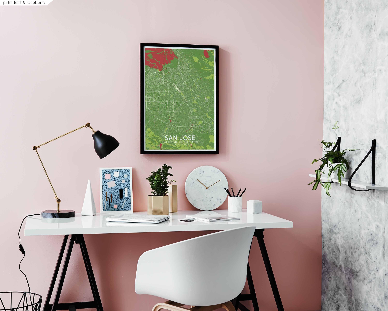 San Jose California Usa Map Poster Black White Wall Decor Design Modern Scandinavian Minimal Nordic Housewarming Travel Bedroom