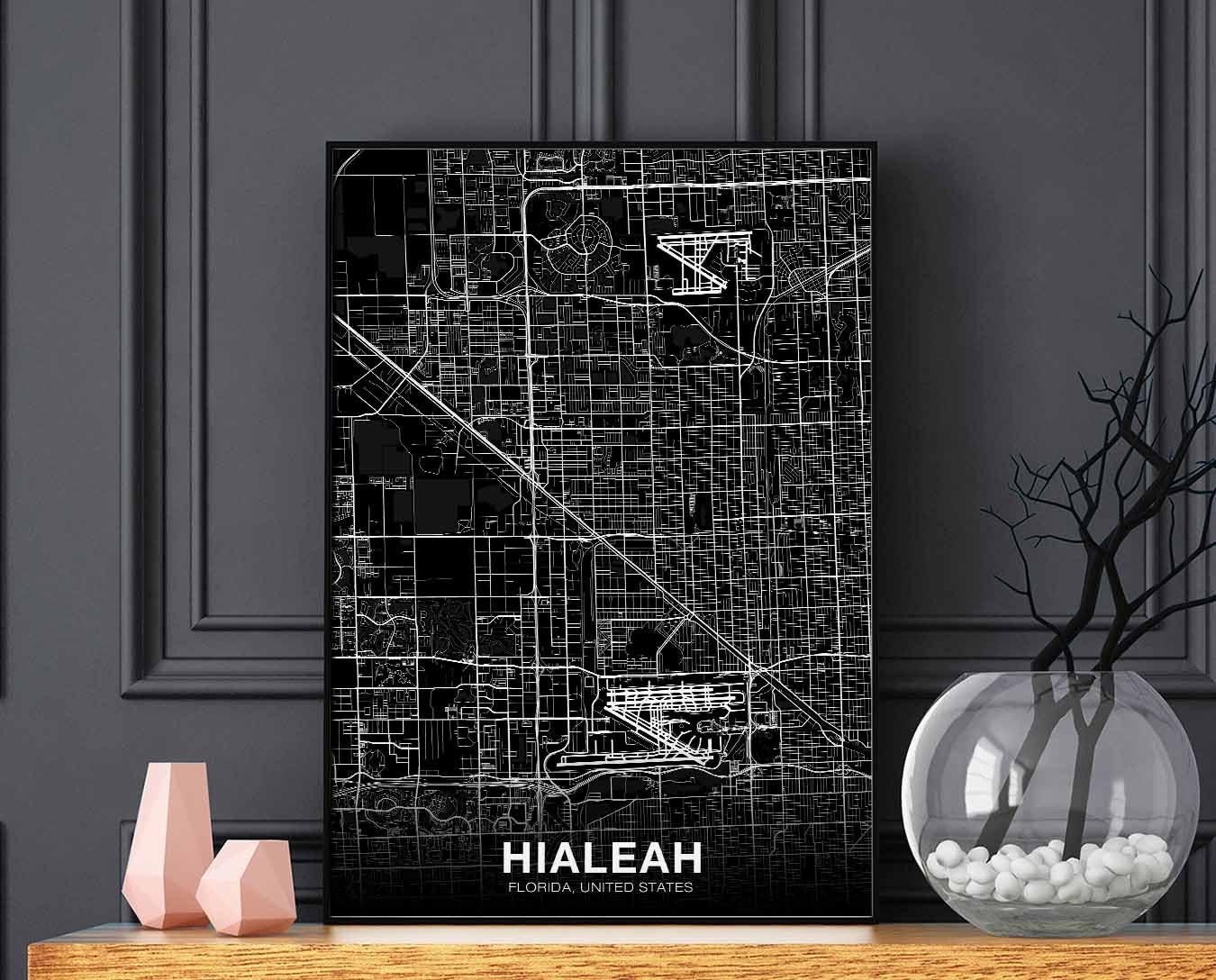 HIALEAH Florida FL USA map poster black white wall design ...