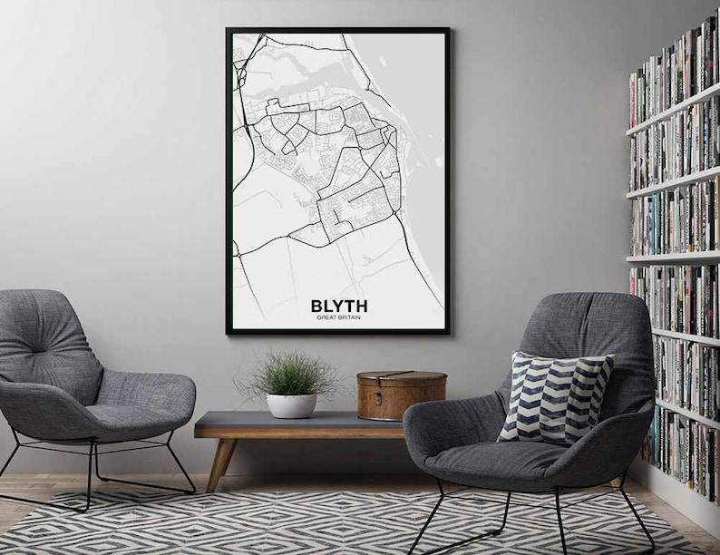 BLYTH Great Britain UK map poster black white Hometown City Print Modern Home Decor Office Decoration Wall Art Dorm Bedroom Gift