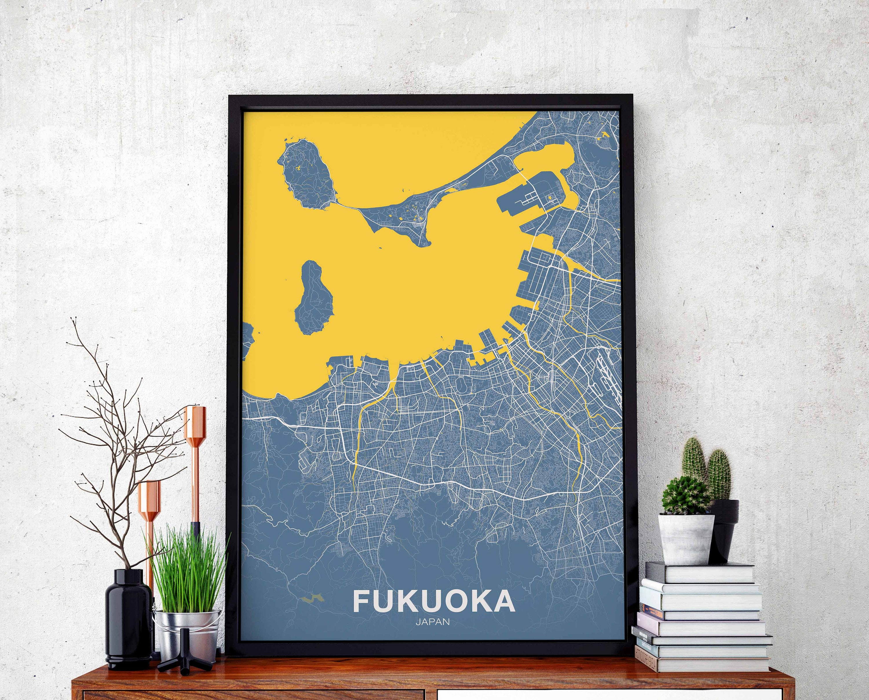 FUKUOKA Japan map poster color wall decor design modern motto | Etsy