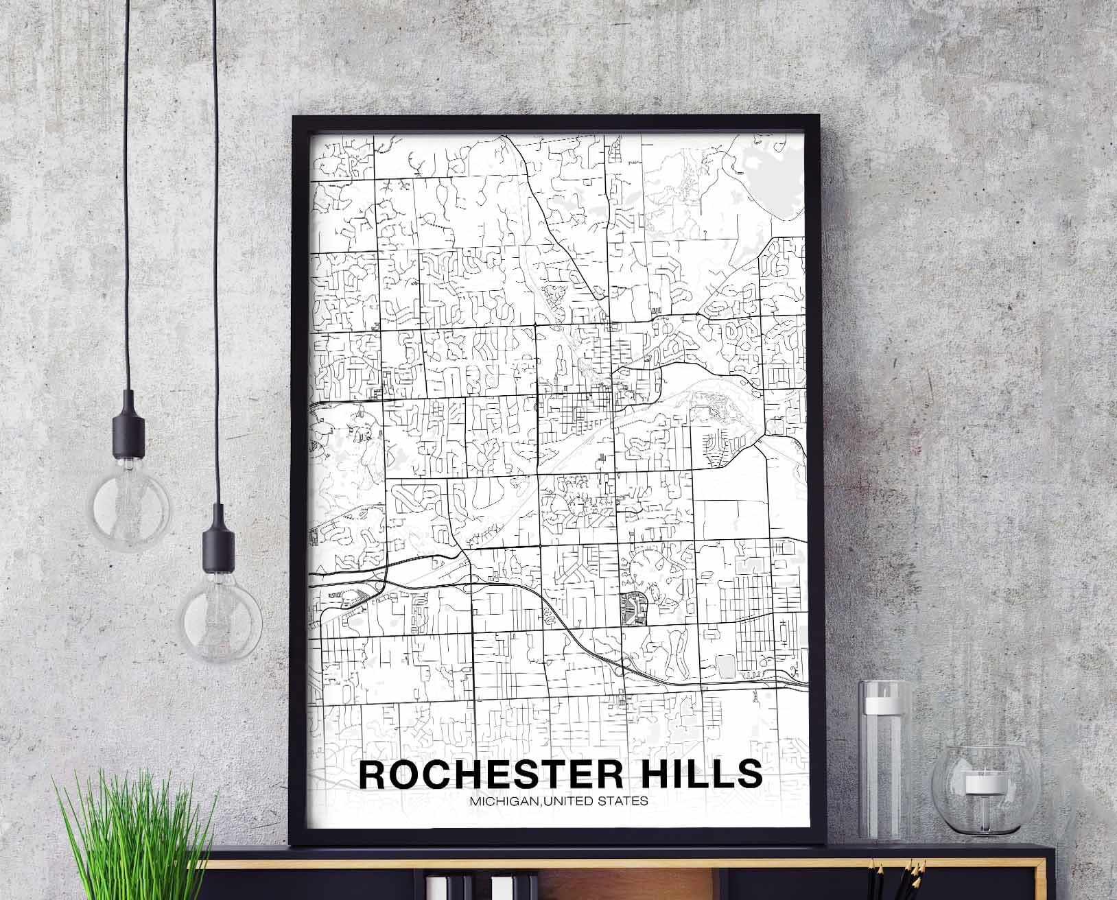 ROCHESTER HILLS Michigan MI usa map poster black white wall ...