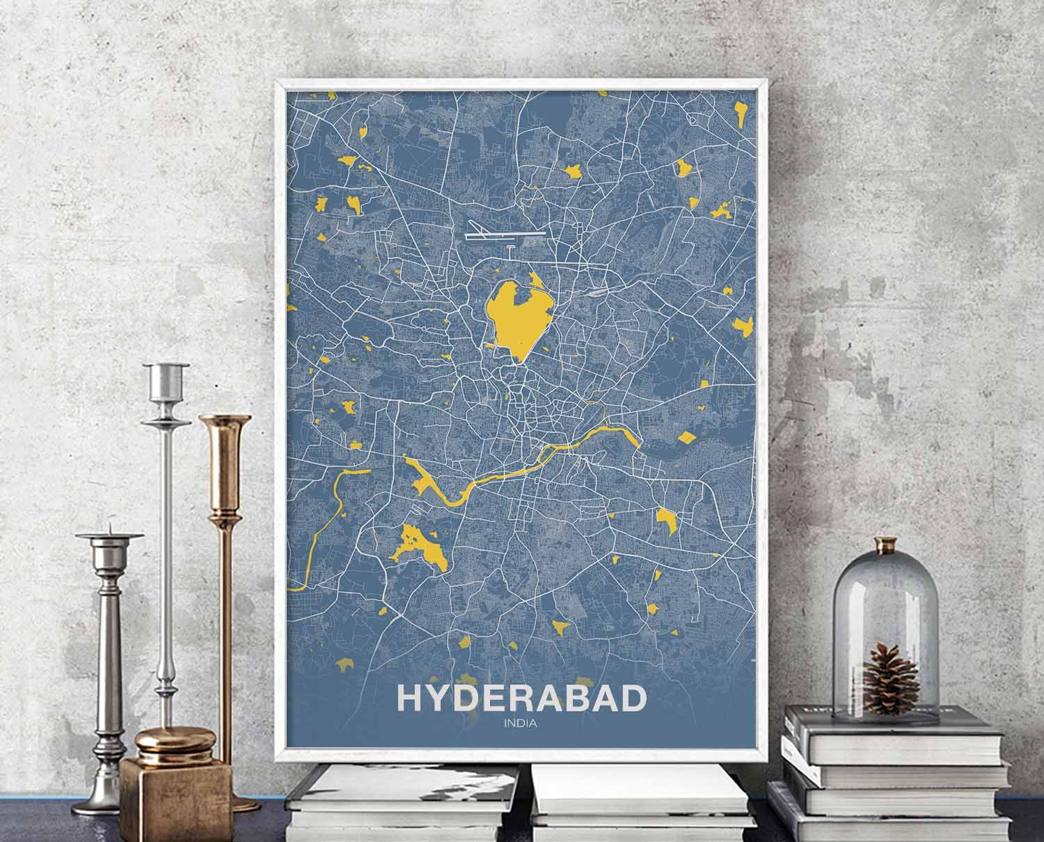 Hyderabad India Poster Color Wall Decor Design Modern Swiss