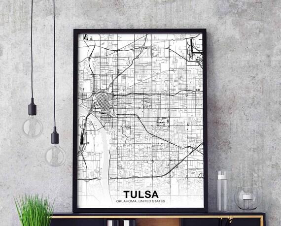 TULSA Oklahoma OK USA map poster black white wall decor design | Etsy
