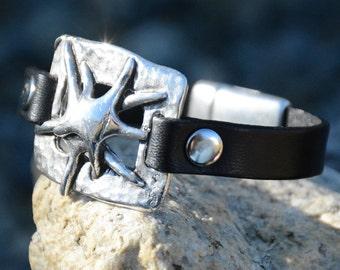 STARFISH JEWELRY, Nautical LEATHER Bracelet, Silver Nautical Bracelet, Sea Star Bracelet, Wrap Bracelet, Bridesmaids Gifts, Summer jewelry,
