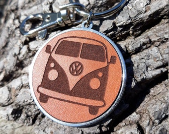 VW Bus Leather Key chain, personalized Leather key chain, VW Key ring, hook key chain, Stainless steel keyring, Vintage WV bus gift