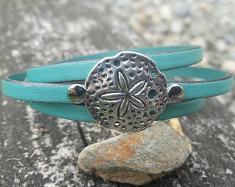 Sand Dollar bracelet, Nautical jewelry, Nautical Leather Bracelet, Beach Jewelry, Summer bracelet, Bridal party gifts, sea biscuit,
