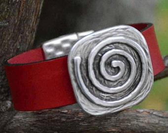 WIDE LEATHER Bracelet, GREEK Spiral, Square Disc, Leather Bracelet, Silver Accent, Magnetic Clasp