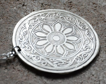 MEDALLION, TURKISH Pendant , Long Necklace, Silver Pendant Necklace, Turkish jewelry,  Summer jewelry, Bridesmaids Gifts, Birthday gift,