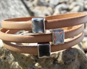 Silver Square jewelry, Bar bracelet, Leather wrap bracelet, Minimalist style, bridesmaids gifts, birthday gifts, Stackable Bracelets,