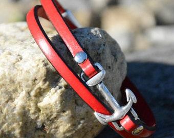 ANCHOR BRACELET, NAUTICAL  Jewelry, Leather Wrap Bracelet , Stackable Bracelets, Navy, Bridesmaids gifts, Graduation gift, Minimalist Style